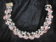 Vintage Signed Miriam Haskell Art Glass Pink Stones Seed Beads Faux Pearls