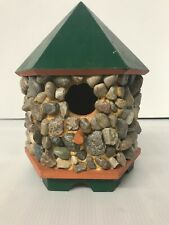 "Birdhouse Polished Stone Wood Frame Tabletop Green/Orange 9.5"" Tall Handmade"
