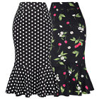 Women Retro 50s Mermaid Skirt Pinup Slim Wiggle Bodycon Pencil OL Formal Skirt