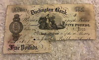 British Banknote. Darlington Bank. Five Pounds. Dated 1884. Collectible.