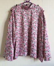 Size 24 Pink Satin Floral Long Top Oriental Button Shoulder M&S Collection