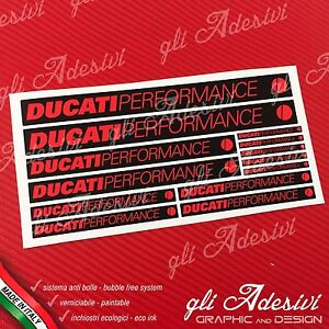 Set 13 Adhesives DUCATI Performance Old Motorcycle Black And Red