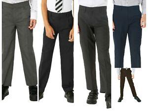 Boys Black Grey /& Charcoal Grey Regular Fit Zip Up School Trousers Elastic Adjustable Waist 3-16 Yrs