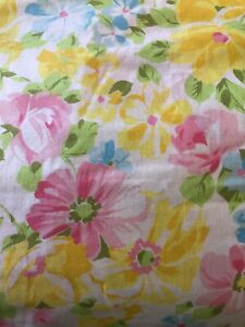 Vintage Springmaid Marvelaire Twin Flat Sheet Floral Made in USA