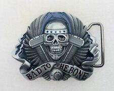 Bad to the Bone Skull & V Twin Belt Buckle Motorcycle Biker Metal Gothic