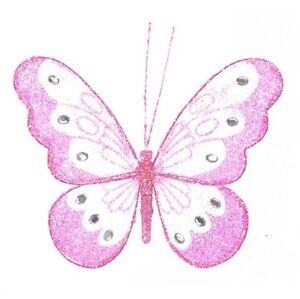 18cm Decorative Glitter Jewelled Clip-on Butterfly Butterflies Large Wedding