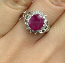 14K Solid White Gold Cluster Diamond 0.45CT Ring With Natural Ruby, Sz 7.75