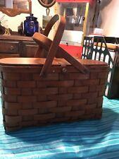 Vintage Woven Picnic Basket Wood Handles Hinged Wooden Lid