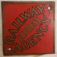 "Great Antique Iron Railway Express Agency Sign 8"" Square"