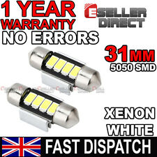 31mm / 32mm WHITE NUMBER PLATE INTERIOR LIGHT DOME FESTOON BULB 4 SMD LED