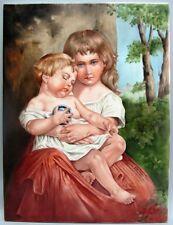 "Large 16"" x 12"" Hand-Painted Vintage Porcelain Plaque  ONALEE CROCKER  c. 1990s"