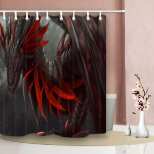 """Fearless Dragon Head Red Shower Curtain Bathroom Waterproof Polyester Fabric 71"""""""