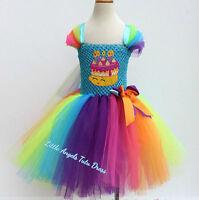 Shopkins Birthday Cake Tutu Dress, Rainbow Birthday Party Tutu Outfit. Handmade