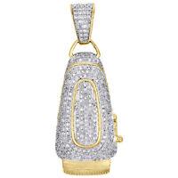 "10K Yellow Gold Mens Diamond Barber Shop Trimmer Clipper Pendant 1.7"" Charm 1 CT"