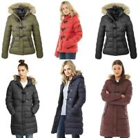 WOMNES LADIES JACKET GIRLS PUFFER PADDED QUILTED FUR HOODED WINTER BUBBLE COAT