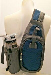 blue grey crossbody sling athletic bag w water bottle holder hike bike jog walk