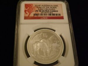 2014-P   50 Cent  Year Of The Horse  Early Releases   NGC PF 70 Ultra Cameo