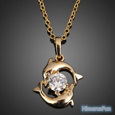 Fashion Womens Dolphin 18k Gold Plated Crystal Necklace Pendant Chain Jewelry