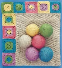 EASY CROCHET  BABY BLANKET PATTERN IN COLOURED GRANNY SQUARES (1071)