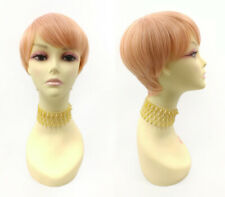 Heat Resistant Pixie Wig Straight Short Tapered Cut Bangs Pink Peach