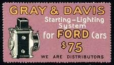 USA Poster Stamp - Auto Advert - Gray & Davis - Starting- Lighting - Ford c.1915