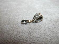 PANDORA 14K GOLD TEARDROP BLACK ONYX & DIAMOND DANGLE Bracelet CHARM BEAD
