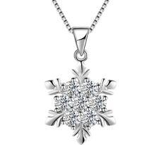 Disney Snowflake Cubic Zirconia Silver Frozen Pendant Necklace Gift Box K43