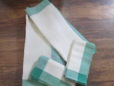 4 Hand Woven Placemat & Napkin Sets + Centerpiece Linen Signed Mary C Zinn