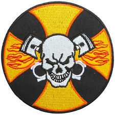Skull Iron Cross Ghost V-Twin Engine Biker Motorcycles Iron on Patches #SK066