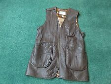 Orvis Leather Shooting Vest Size L Brown Leather EUC