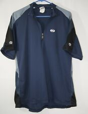 LOUIS GARNEAU Vintage Cycling Jersey 1/2 Zip Dark blue, grey, black sleeve. XL