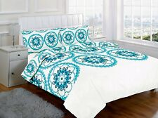 SUPER KING DUVET COVER SET STAR BURST TEAL OFF CREAM POLYCOTTON CIRCLES FLORAL