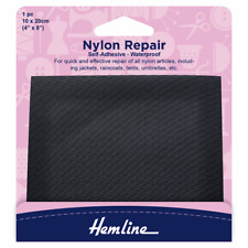 Hemline Nylon Self-Adhesive Waterproof Repair Patch 10cm x 20cm Black