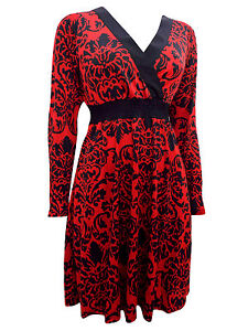 New Happy Holly Ladies Red Mock Wrap Printed Damask Dress UK6/8 - 10/12 - 14/16