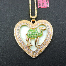 New Charm Rhinestone Green Camel Crystal Pendant Betsey Johnson Chain Necklace