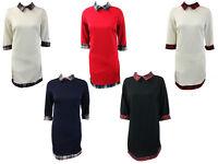 Womens Ladies Peter Pan Tartan Collar Textured Dress Bodycon Dress SIze 8-16
