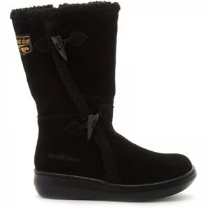 Rocket Dog SLOPE Ladies Womens Faux Shearling Suede Zip Up Winter Boots Black