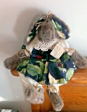 "Sitting Bunny Shabby Chic 18"" Rabbit Vintage Fabric Fur Crochet Artist tag"