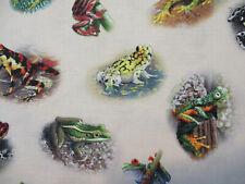 Frog Jungle Frogs Realistic Cream Cotton Fabric Fq