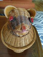 vtg handmade hand woven figural 2 piece animal wicker basket  box.