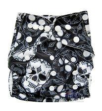 Modern Cloth Reusable Nappy Diaper & Insert, Black and White Skulls