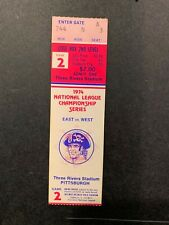 1974 NLCS GAME 2 FULL TICKET STUB PITTSBURGH PIRATES LOS ANGELES DODGERS NM RED