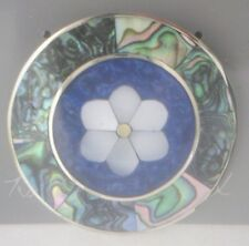 Pin/Brooch Daisy/Flower Abalone Shell Mother of Pearl MOP Alpaca new round blue