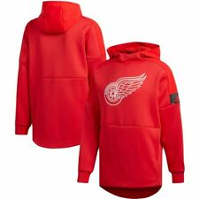 ADIDAS NHL HOCKEY GAME PULLOVER HOODIE COLUMBUS BLUE JACKETS DETROIT RED WINGS