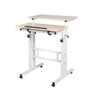 Mobile Standing Desk Computer Laptop Desk Sit-Stand Writing Study Table Workstat