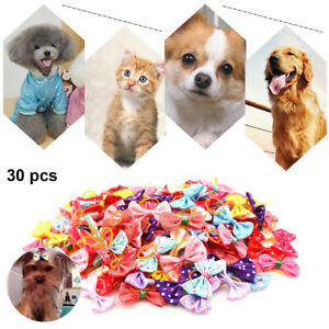30pcs Pet Cat Dog Hair Bows Rubber Band Puppy Headdress Grooming Accessories