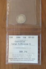 1886 Canada Silver ICCS 10 Cents Large 6 Obverse 6 10c Rare - 1ST EVER LISTED