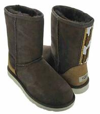 UGG WOMEN'S CLASSIC SHORT SERAPE BEADS BOOTS,CHOCOLATE,US SIZE 8,MEDIUM,NEW