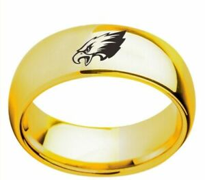 Philadelphia Eagles Football Ring Titanium Stainless Gold 6 7 8 9 10 11 12 13