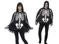 Skeleton Poncho & Gloves Set Adults Horror Halloween Fancy Dress Acxcessories
